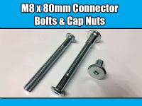 M8 x 80mm Furniture Connector Bolts & Cap Nuts Allen Key Flat Head Joint Fixing